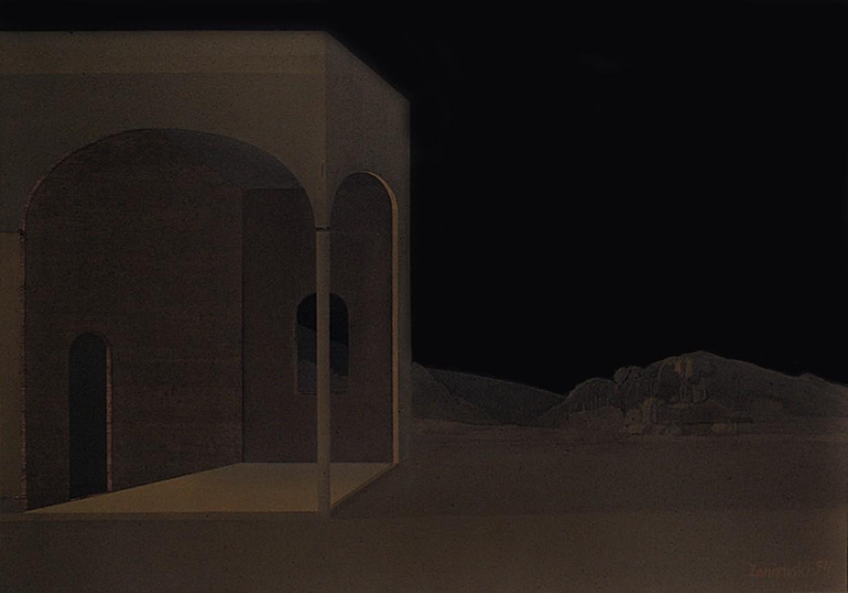 Pejzaż metafizyczny 1994, olej 85 x 120 cm