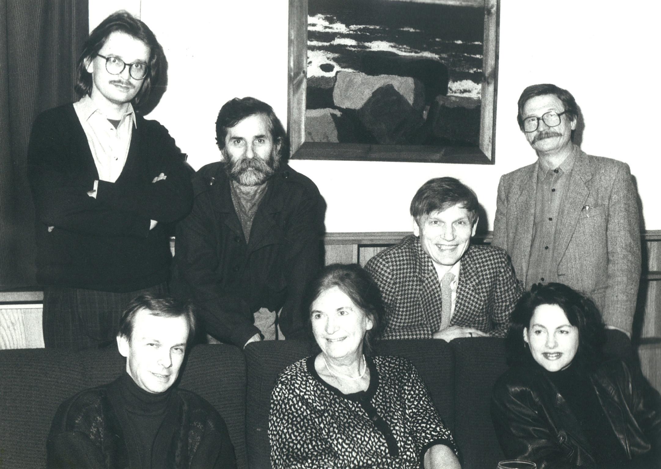 GTPS - spotkanie redakcyjne podczas prac nad albumem Malarskie Widzenie; Wojciech Zaniewski jako redaktor prowadzący, Gdańsk 1993