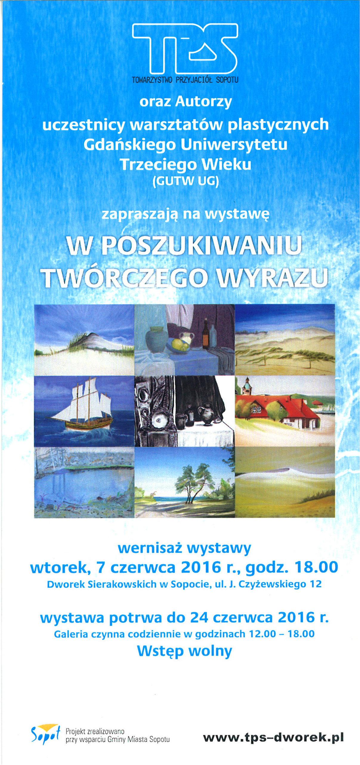 Wystawa w Dworku słuchaczy GUTW UG - zaproszenie, Sopot 2016