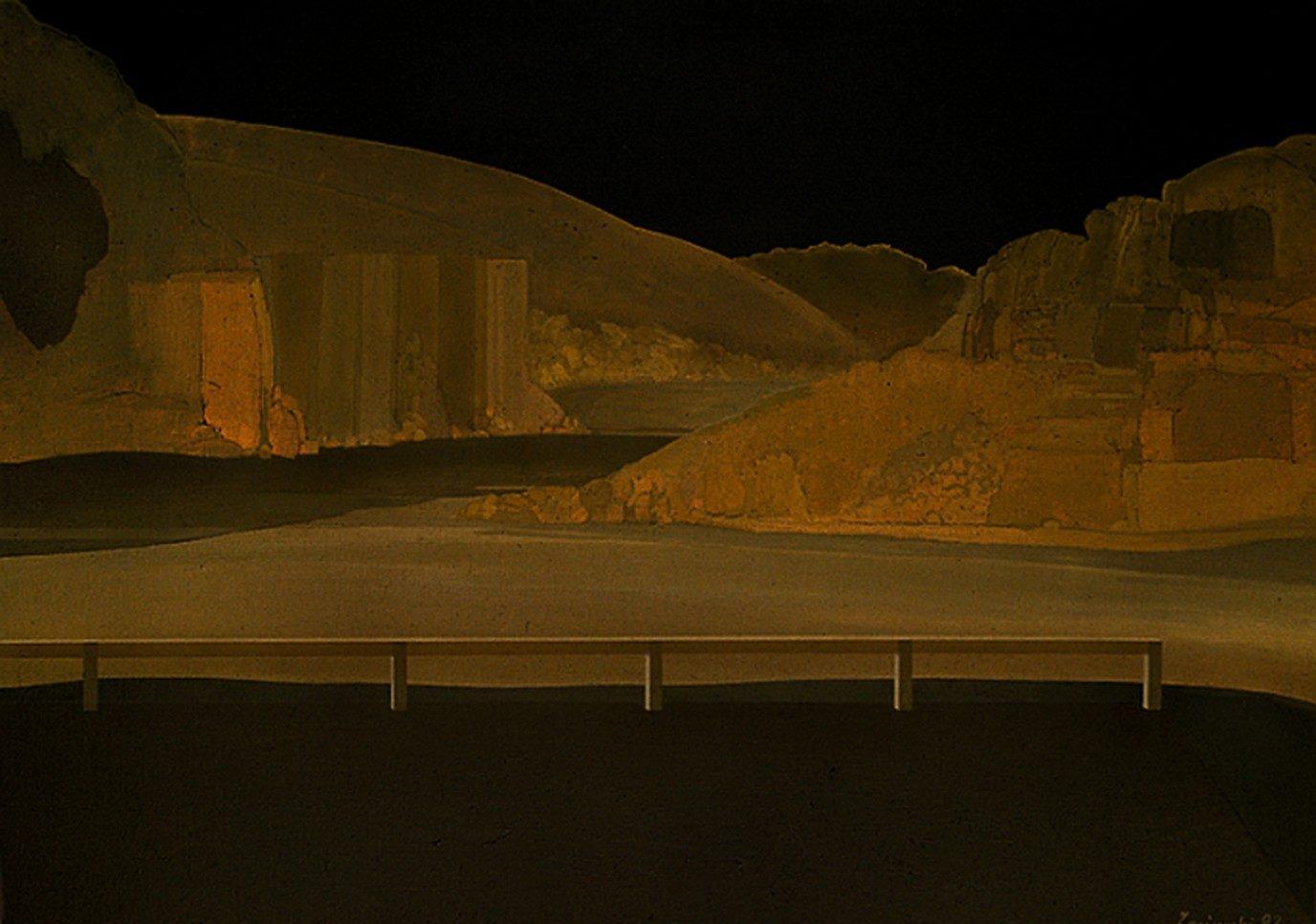 Pejzaż górski w brązach I 1992, olej 85 x 120 cm