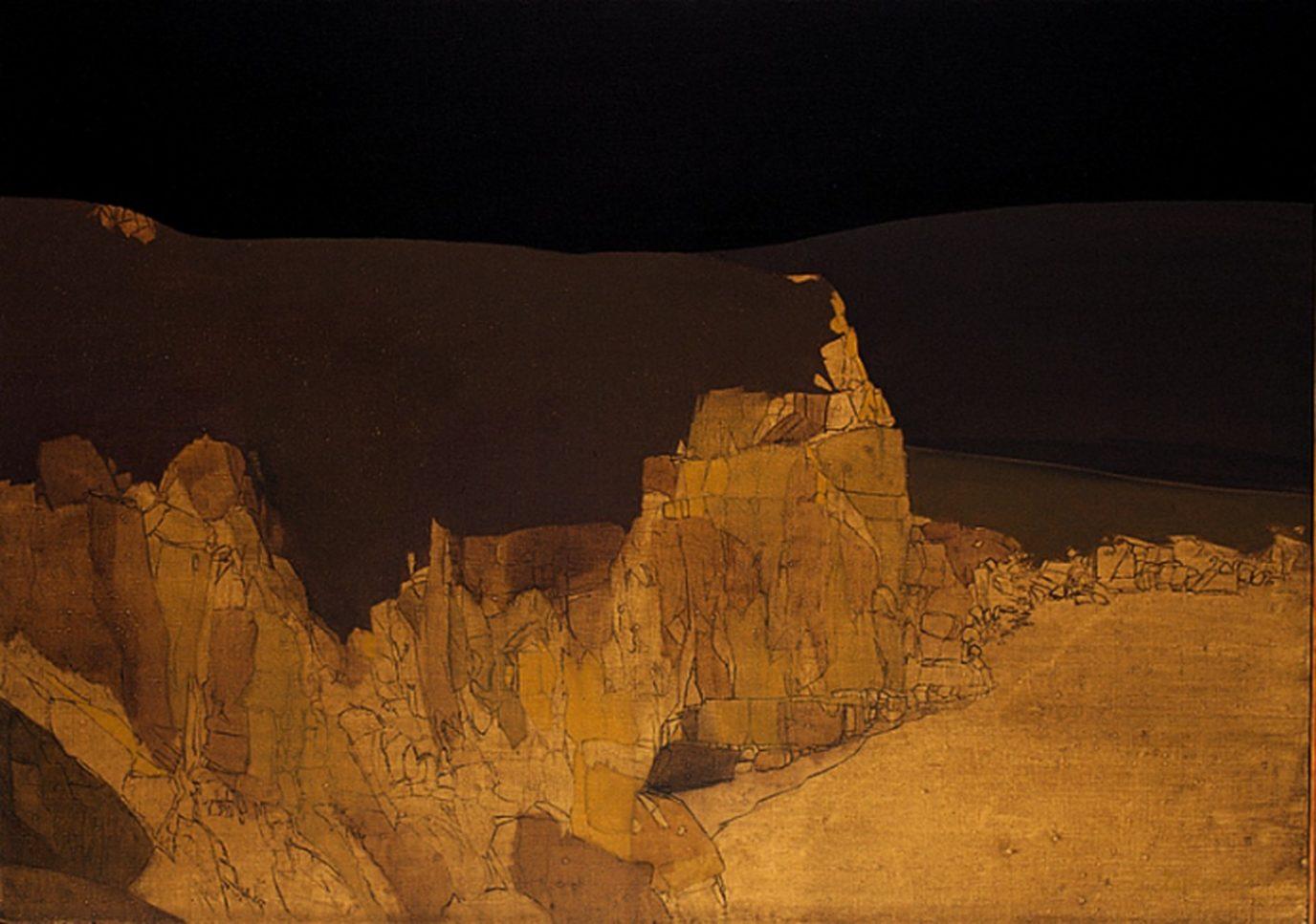Pejzaż górski w brązach II 1996, olej 85 x 120 cm